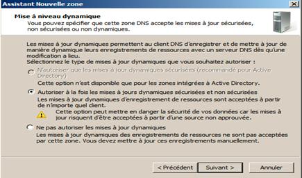 autoriser ou non les mises à jour dynamique des enregistrements de ressources