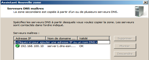 saisir l'adresse IP du serveur hébergeant la zone principale